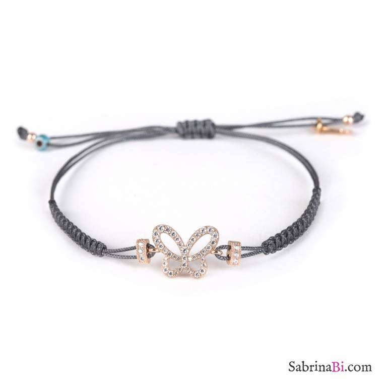 Crystal Butterfly rose gold sterling silver bracelet with grey string  26ac7469736