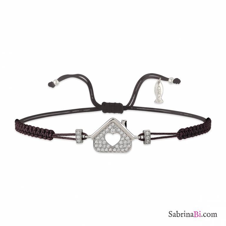 pacchetto alla moda e attraente store nuovo autentico Bracciale argento 925 Casa brillanti e cordino nero