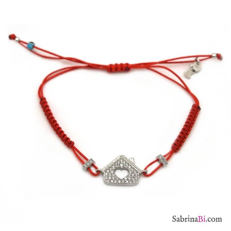 Bracciale argento 925 Casa brillanti e cordino rosso