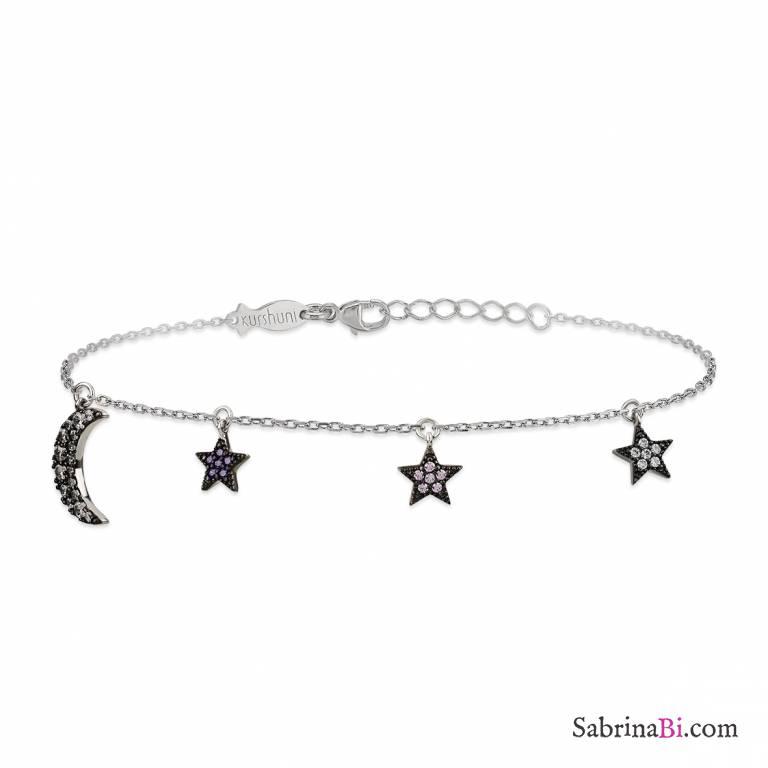Bracciale argento 925 ciondoli Stelle colorate e Luna