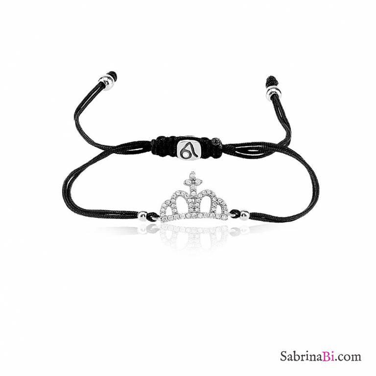 Bracciale argento 925 Corona Zirconi e cordino nero