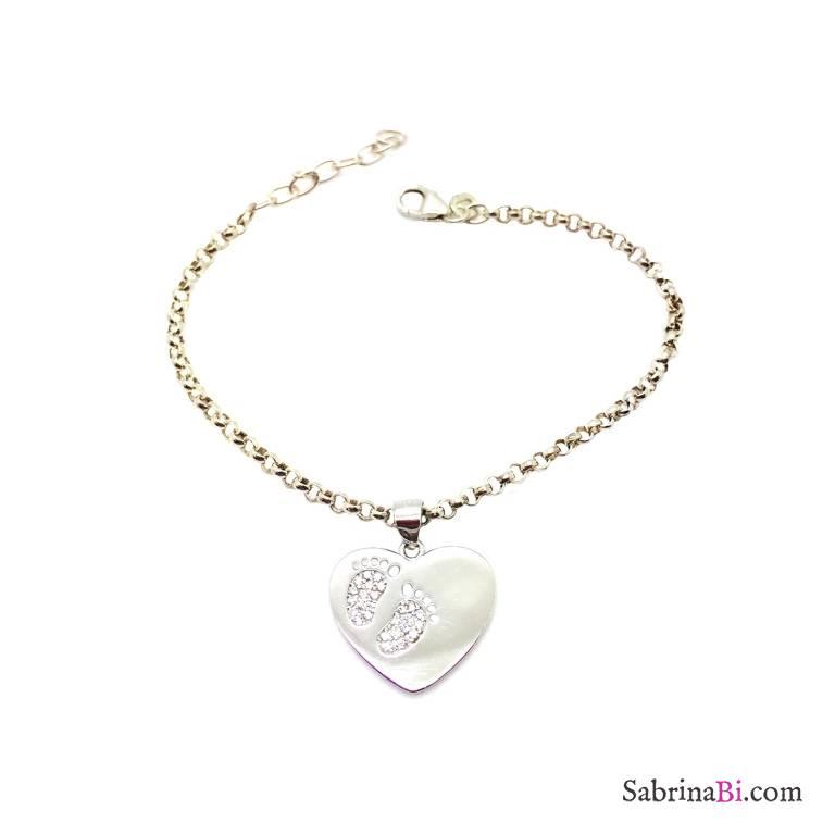 Bracciale argento 925 cuore con piedini Zirconi