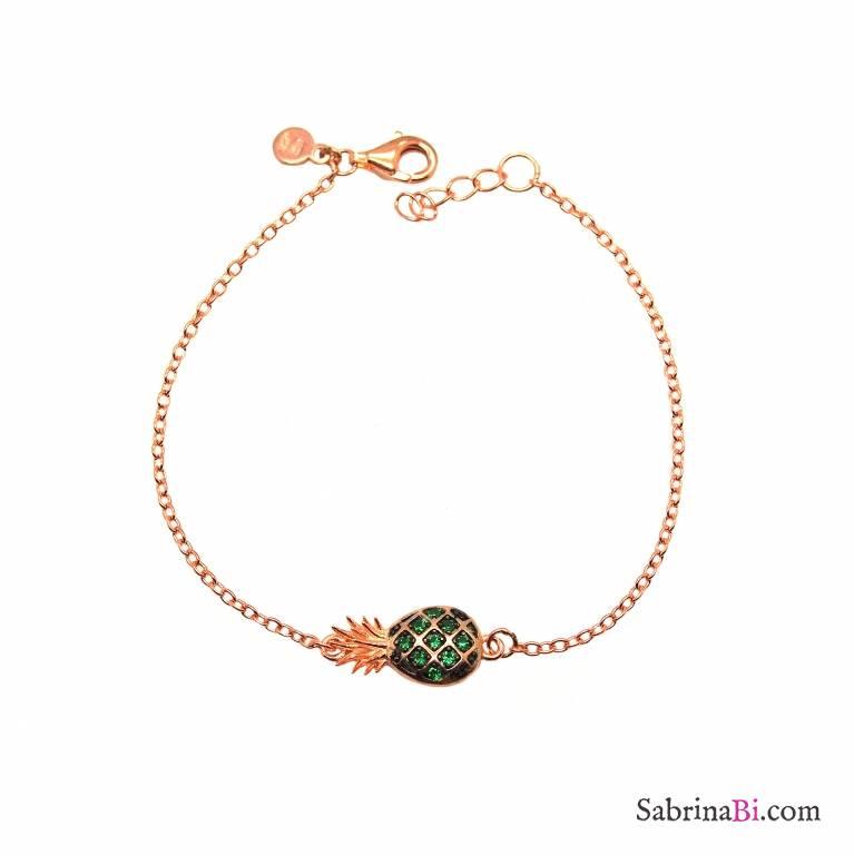 Bracciale argento 925 oro rosa Ananas Zirconi