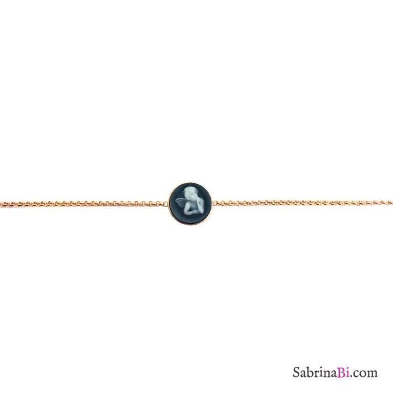 Bracciale argento 925 oro rosa cammeo nero angelo
