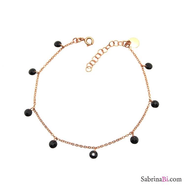 Bracciale argento 925 oro rosa cascata Zirconi neri