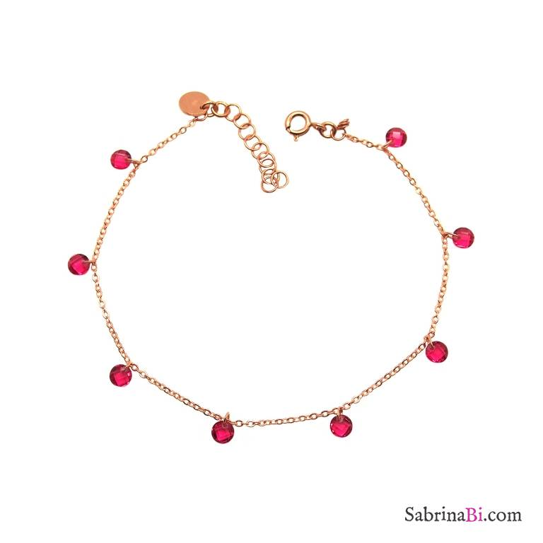 Bracciale argento 925 oro rosa cascata Zirconi rosa