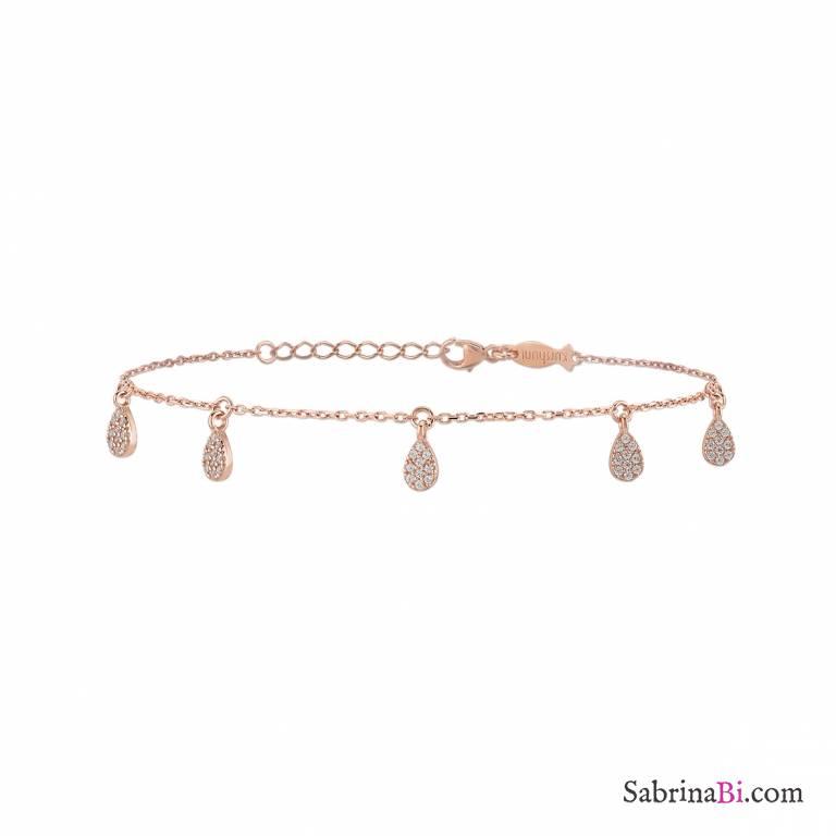 Bracciale argento 925 oro rosa charms Drops brillanti
