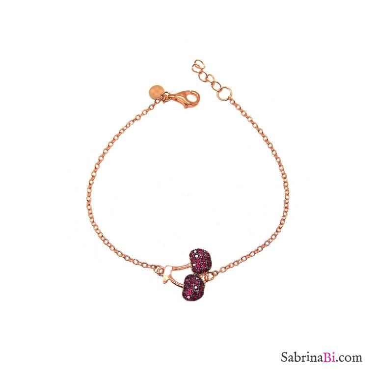 Bracciale argento 925 oro rosa Ciliegie Zirconi