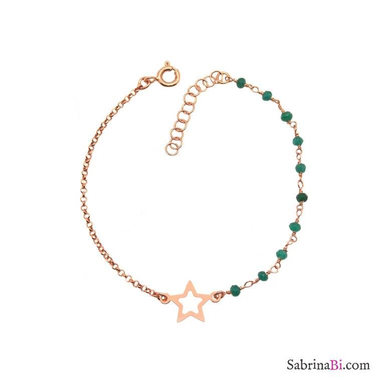 Bracciale argento 925 oro rosa con rosario radici di Smeraldo e Stella