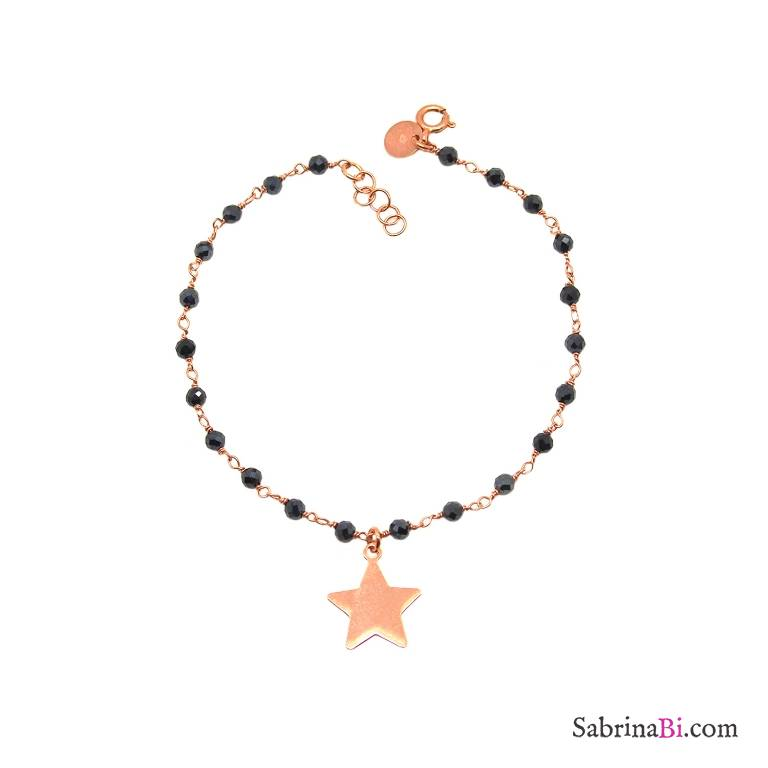 Bracciale argento 925 oro rosa con rosario Tanzanite blu e stella