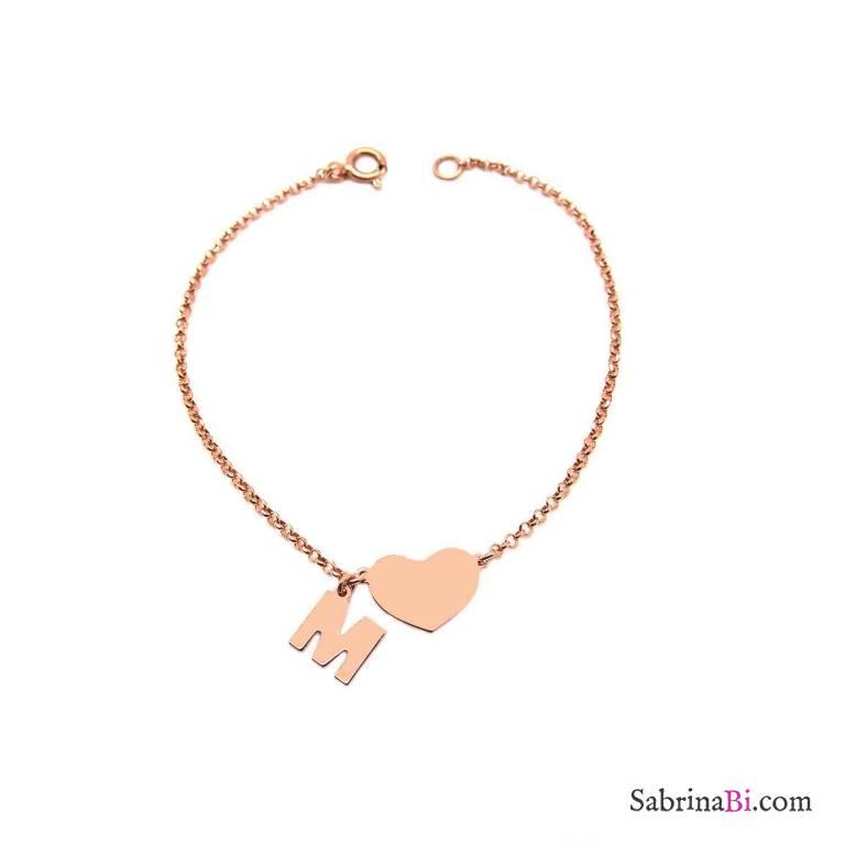 Bracciale argento 925 oro rosa Cuore + lettera personalizzata nome