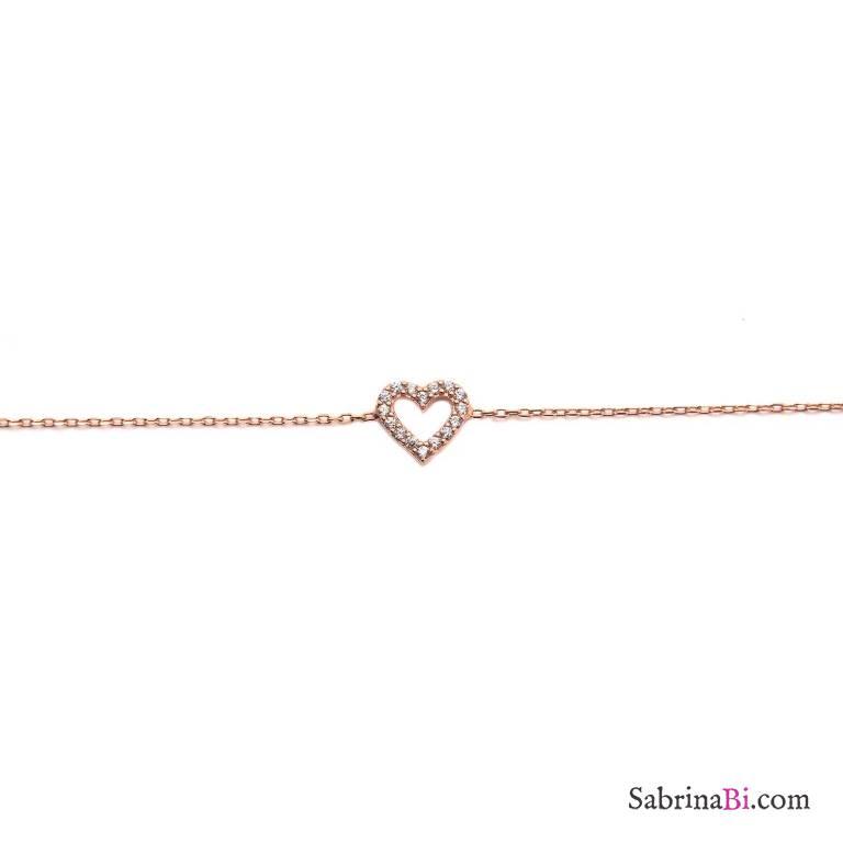 Bracciale argento 925 oro rosa Cuore Zirconi
