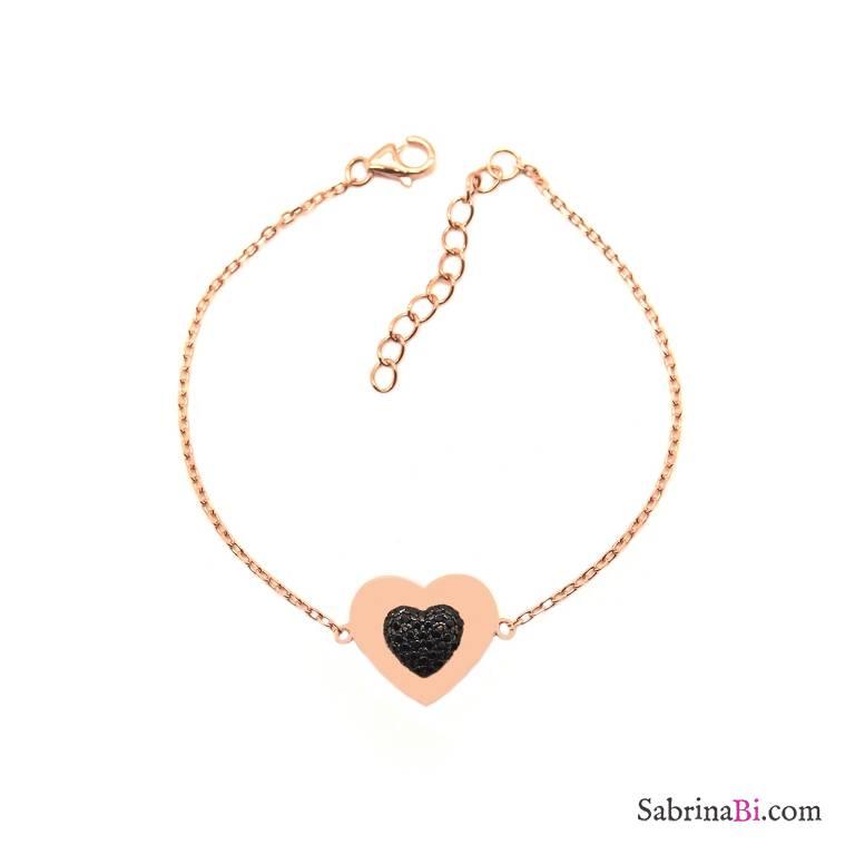 Bracciale argento 925 oro rosa doppio Cuore Zirconi neri