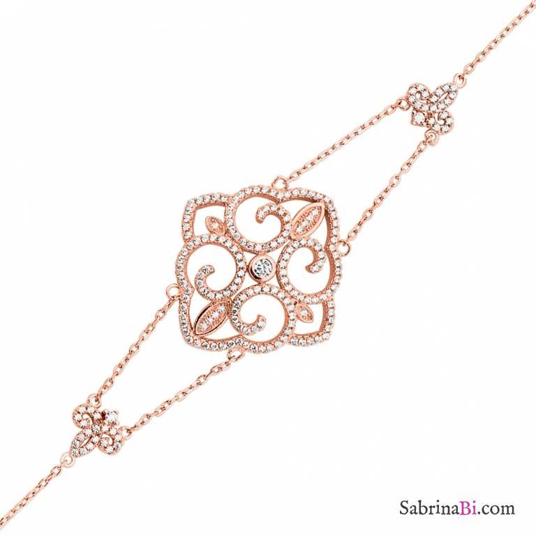Bracciale argento 925 oro rosa elemento geometrico brillanti