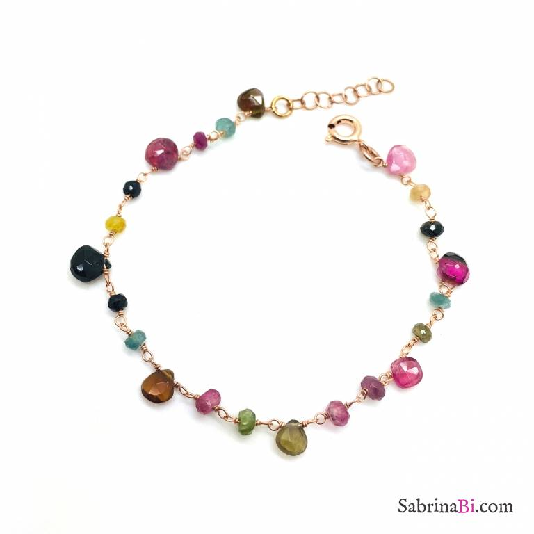 Bracciale argento 925 oro rosa Gaia