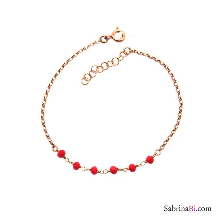 Bracciale argento 925 oro rosa inserto rosario rosso