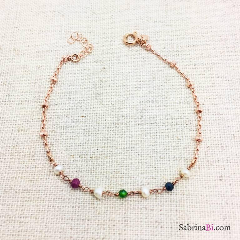 Bracciale argento 925 oro rosa Lavinia