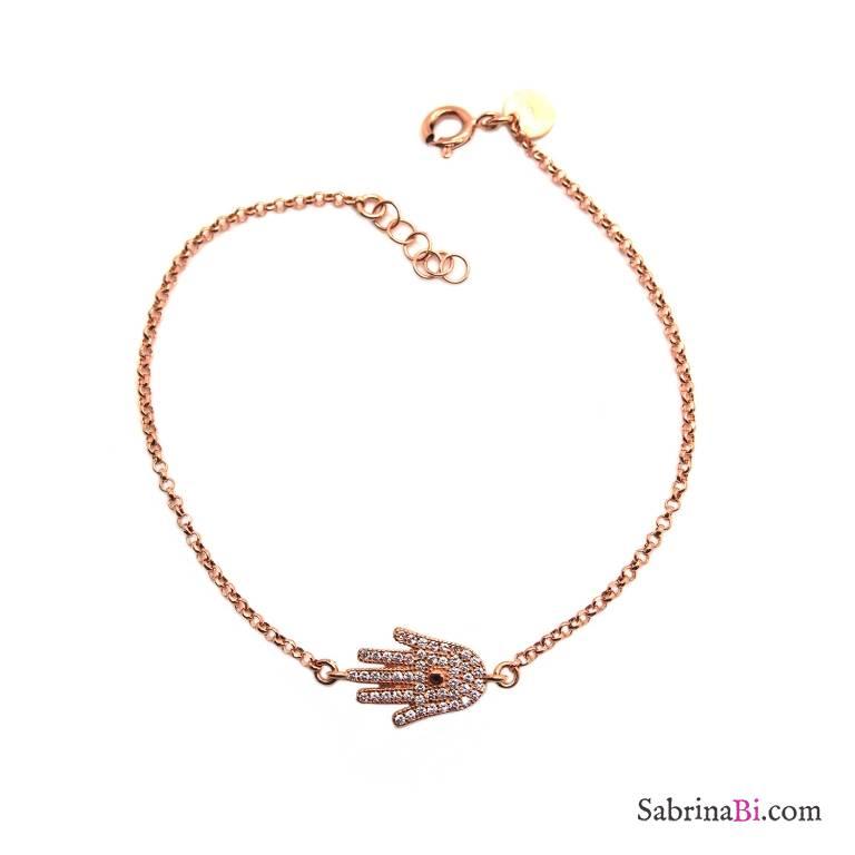 Bracciale argento 925 oro rosa Mano di Fatima Hamsa Zirconi