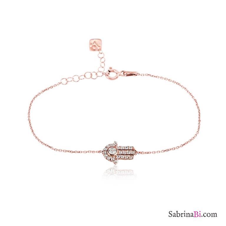 Bracciale argento 925 oro rosa mini Mano di Fatima Zirconi