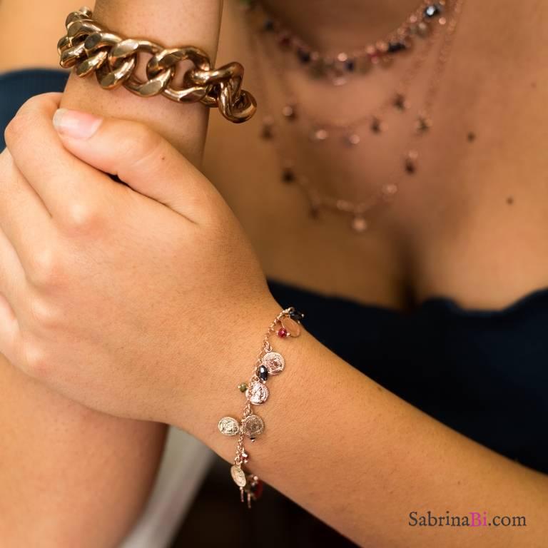 Bracciale argento 925 oro rosa Monete e Zirconi
