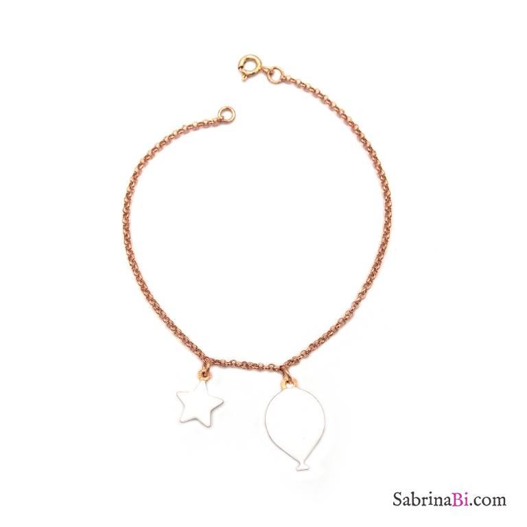 Bracciale argento 925 oro rosa palloncino e stella smalto bianco
