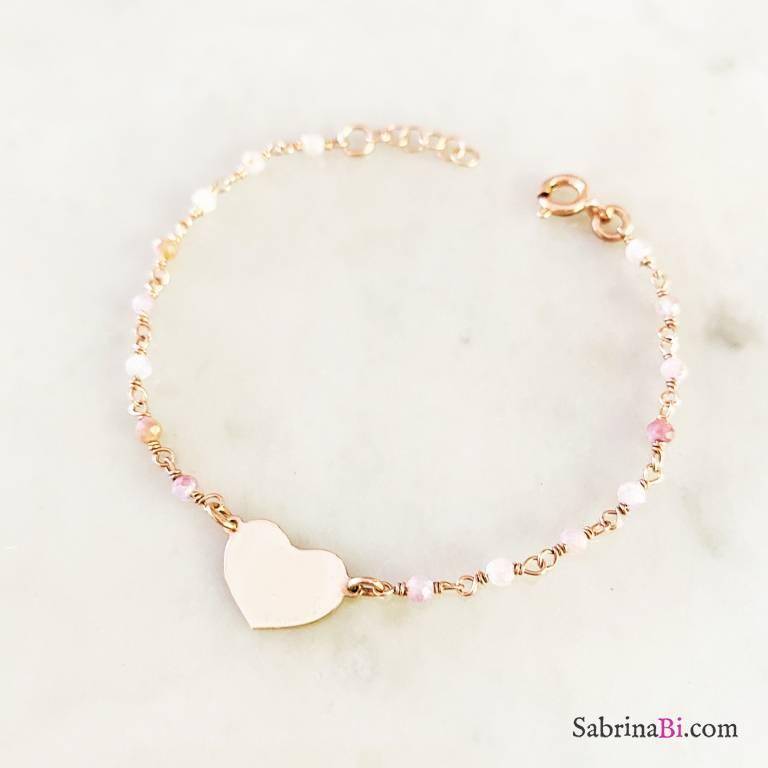Bracciale argento 925 oro rosa rosario Agata rosa Cuore