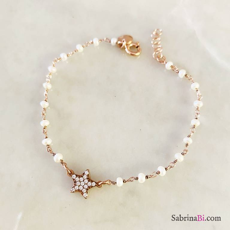 Rose gold sterling silver pearls rosary chain and Zirconia star bracelet