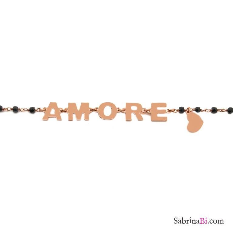 Bracciale argento 925 oro rosa rosario Spinelli neri Amore