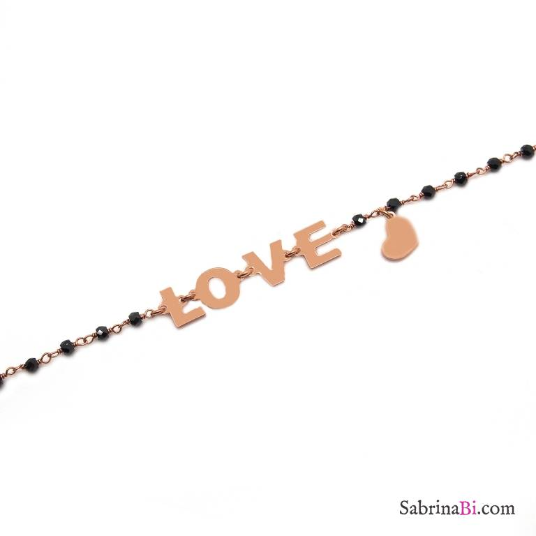 Bracciale argento 925 oro rosa rosario Spinelli neri Love