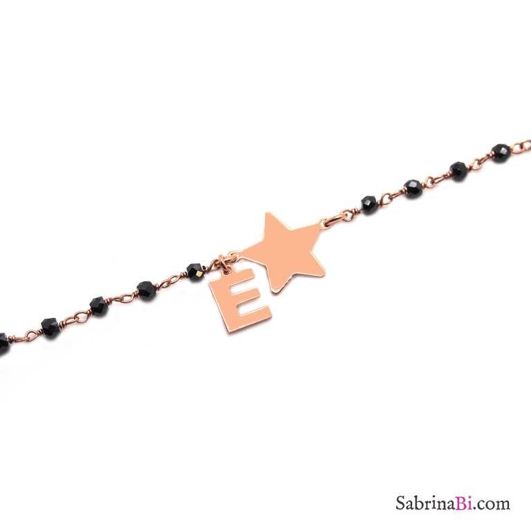 Bracciale argento 925 oro rosa rosario Spinelli neri Stella + lettera personalizzata nome