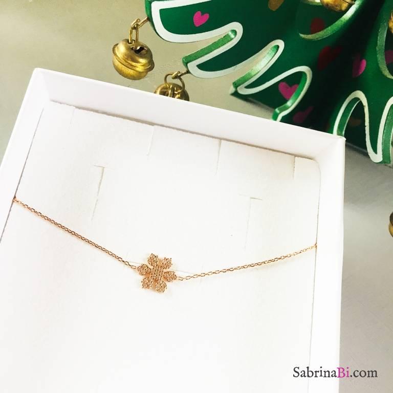 Bracciale argento 925 oro rosa Snowflake
