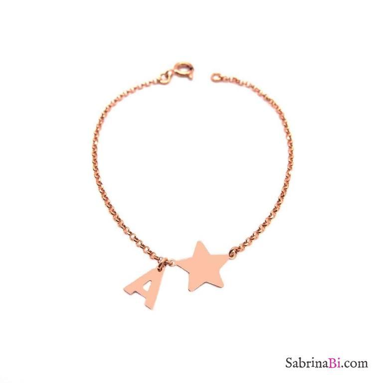 Bracciale argento 925 oro rosa Stella + lettera personalizzata nome