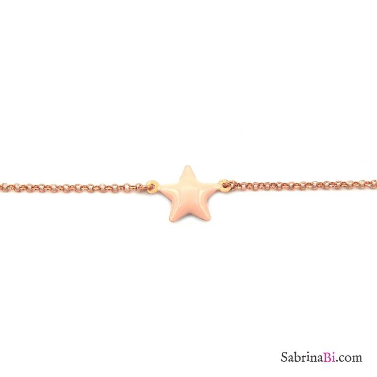 Bracciale argento 925 oro rosa stella smalto rosa