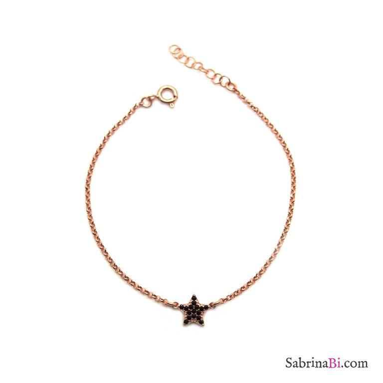 Bracciale argento 925 oro rosa stella Zirconi neri