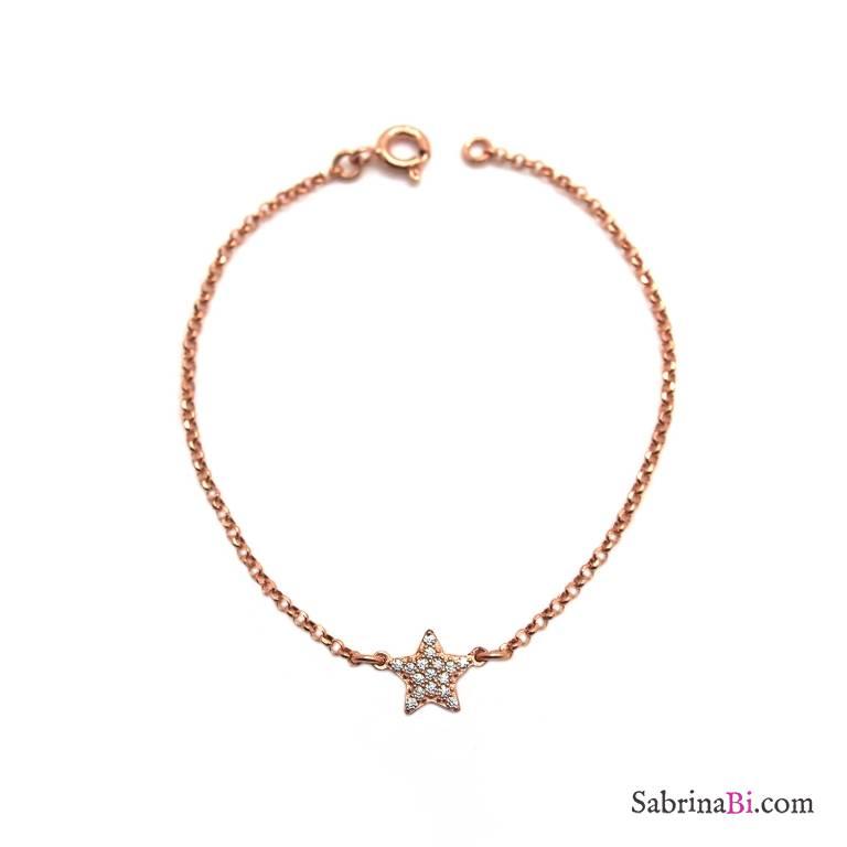 Bracciale argento 925 oro rosa stella Zirconi