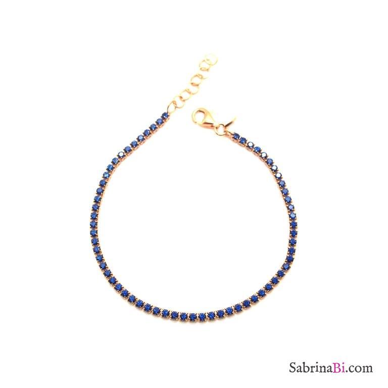 Bracciale argento 925 oro rosa Tennis Zirconi blu