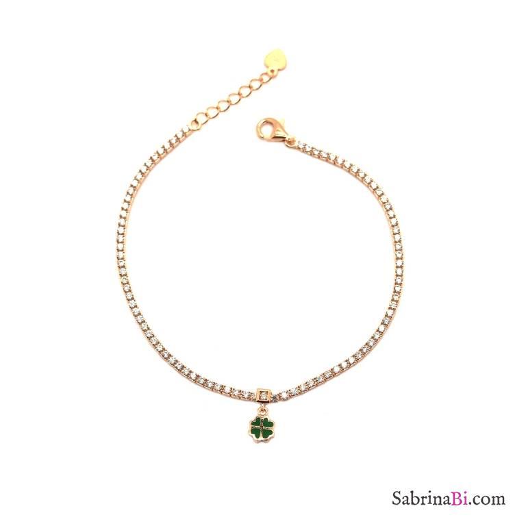 Bracciale argento 925 oro rosa tennis Zirconi e Quadrifoglio