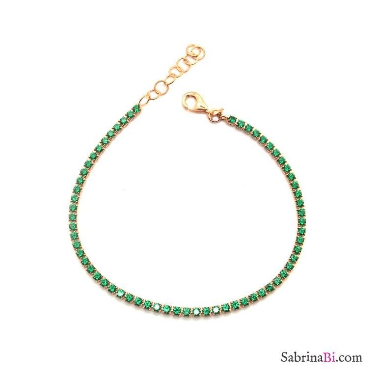 Bracciale argento 925 oro rosa Tennis Zirconi verdi