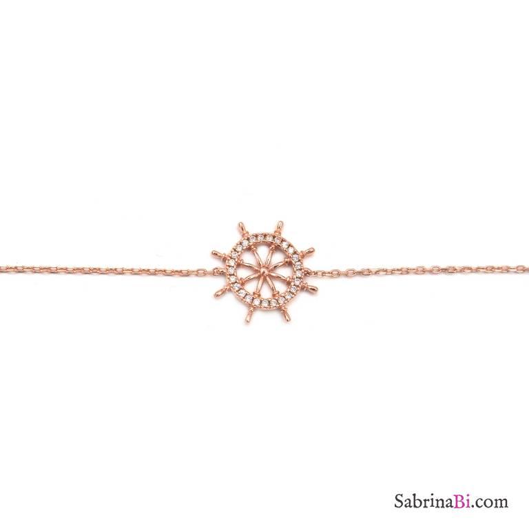 Bracciale argento 925 oro rosa Timone brillanti