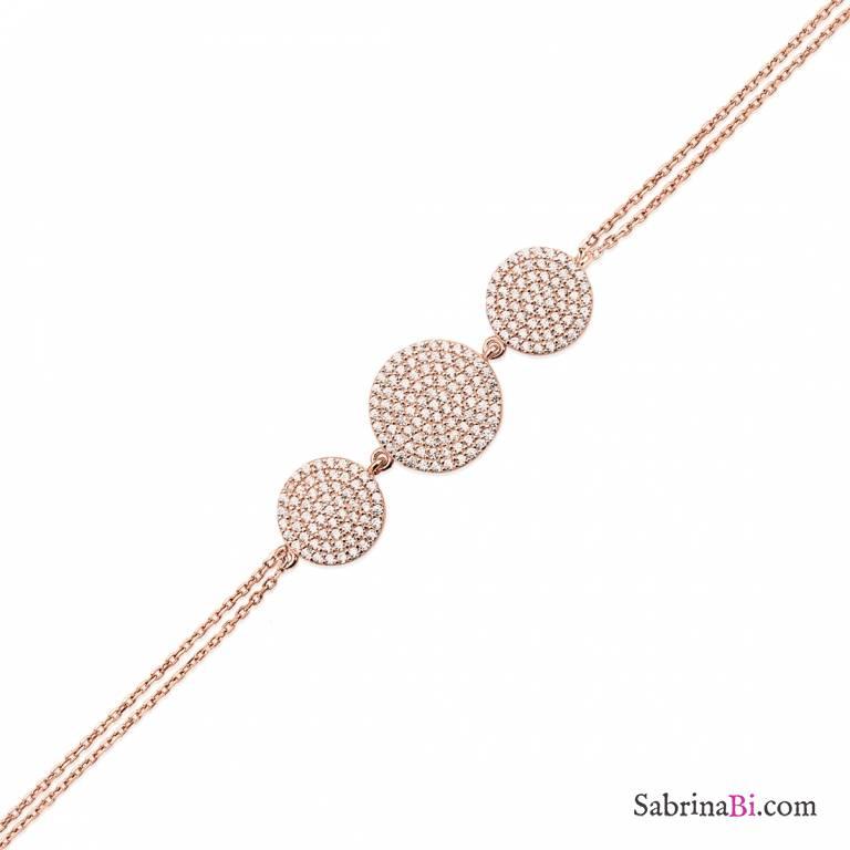 Bracciale argento 925 oro rosa Tre Cerchi brillanti