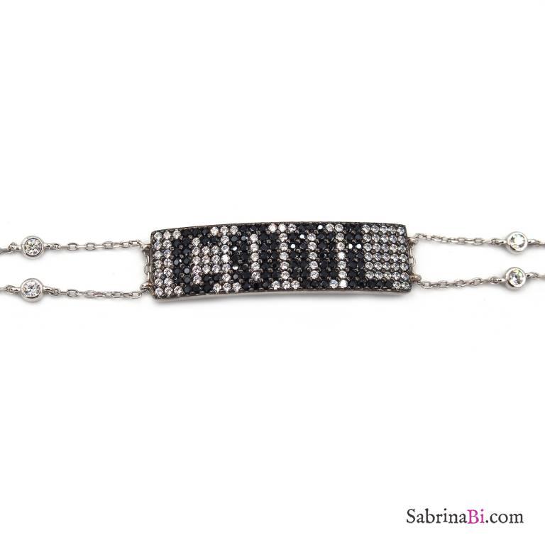 Bracciale argento 925 piastrina scritta COOL brillanti neri