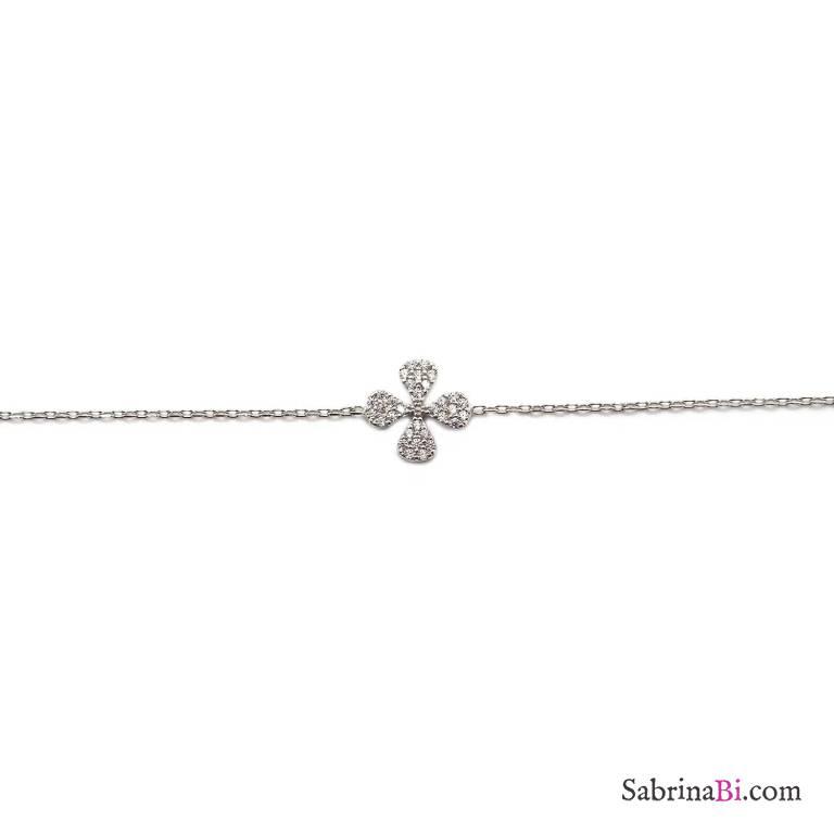 Bracciale argento 925 Quadrifoglio Zirconi