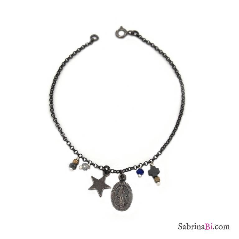 Bracciale argento 925 rodiato nero Madonnina, stella e ciondoli