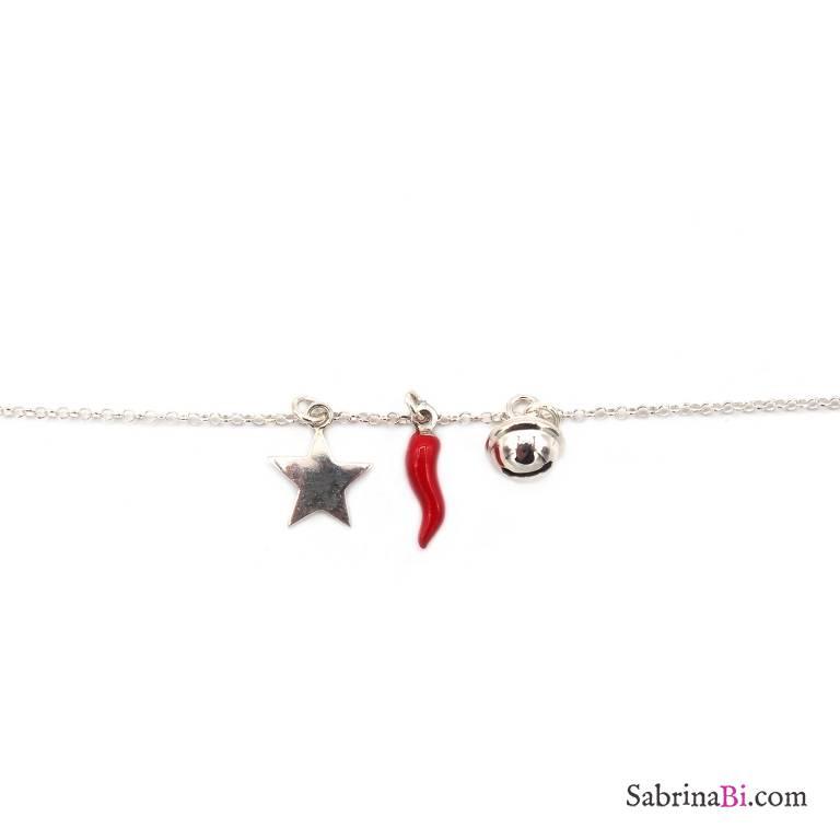Bracciale argento 925 Stella, campanellino e cornetto rosso