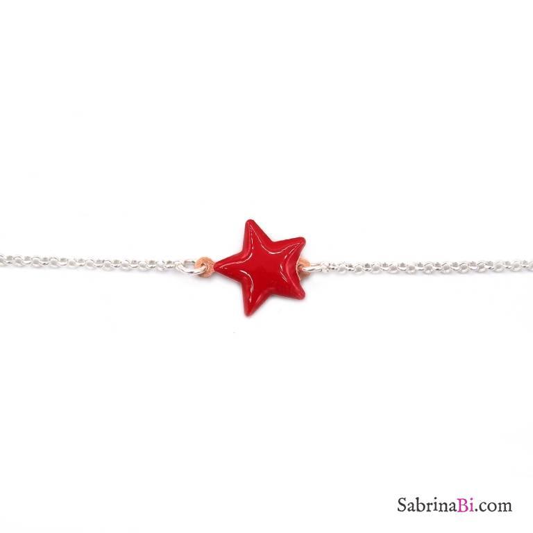 Bracciale argento 925 stella smalto rossa