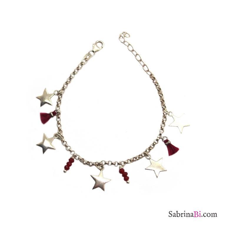Bracciale argento 925 stelle e nappine bordeaux