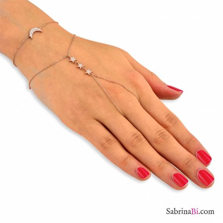 Bracciale Baciamano argento 925 oro rosa Luna e Stelle brillanti