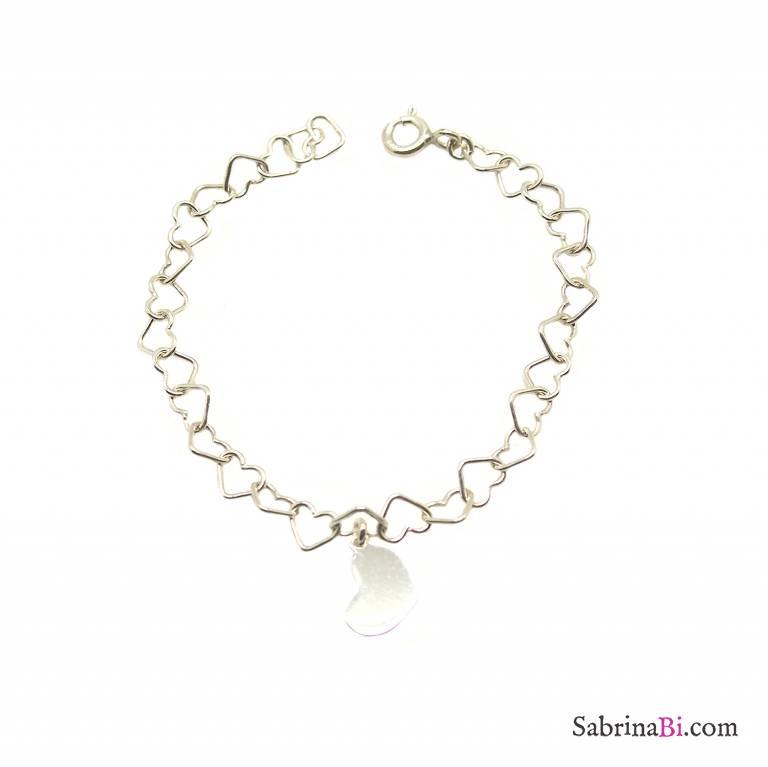 Bracciale bambina maglia a cuore argento 925 Cuore