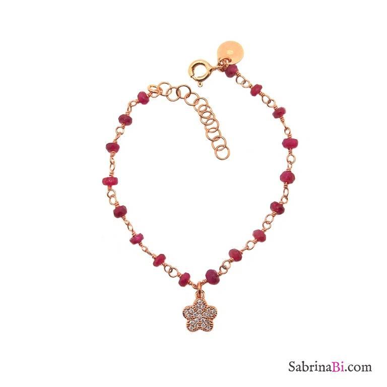 Bracciale bambina rosario rosso rubino argento 925 oro rosa e fiore Zirconi