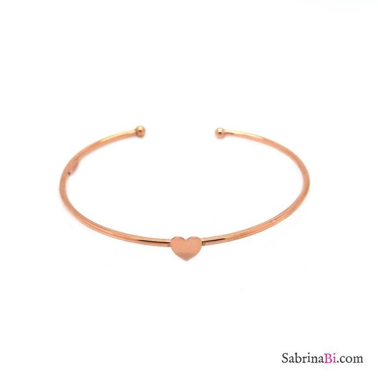 Bracciale bangle filo semirigido argento 925 oro rosa cuore centrale